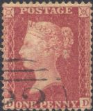 1857 1d Rose-red SG40 Plate 60 'DD'(1)